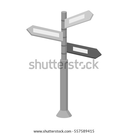 Crossroad sign icon in monochrome style isolated on white background. Rest and travel symbol stock vector illustration.