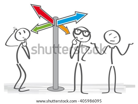 Crossroad signpost saying this way, that way, another way
