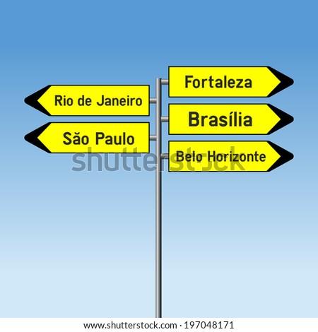 Crossroad vector Road Direction Sign concept of Largest cities in Brazil - Sao Paolo,Rio de Janeiro, Fortaleza, Brasilia and Belo Horizonte - stock vector