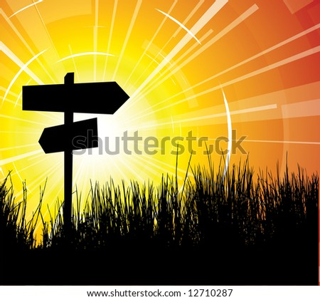 Crossroad with sunset and grass in the background - stock vector