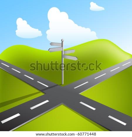 crossroads - stock vector