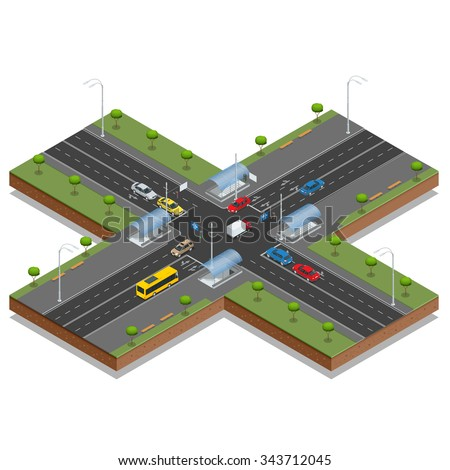Crossroads and road markings isometric vector illustration. Transport car, urban and asphalt, traffic. Crossing Roads (Road Intersection with pedestrian subway). - stock vector
