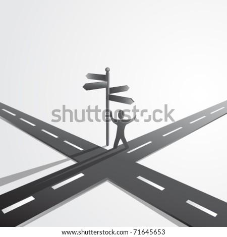 crossroads vector - stock vector