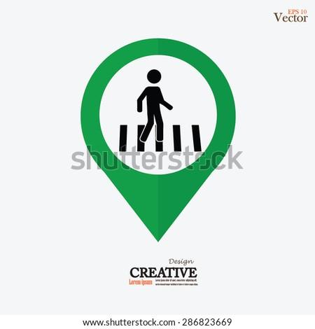 Crosswalk Graphic Sign Vector Illustration.man walk on crosswalk icon.man icon.vector illustration. - stock vector