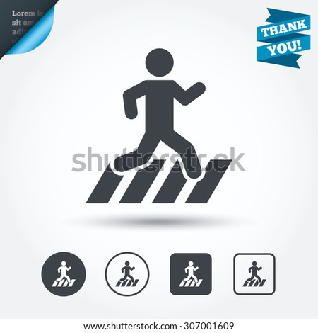 Crosswalk icon. Crossing street sign. Circle and square buttons. Flat design set. Thank you ribbon. Vector - stock vector