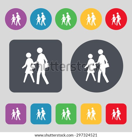 crosswalk icon sign. A set of 12 colored buttons. Flat design. Vector illustration - stock vector