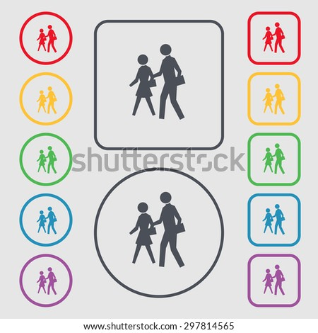 crosswalk icon sign. symbol on the Round and square buttons with frame. Vector illustration - stock vector