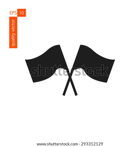 crosswise flags fluttering in the wind. icon on a white background. vector - stock vector