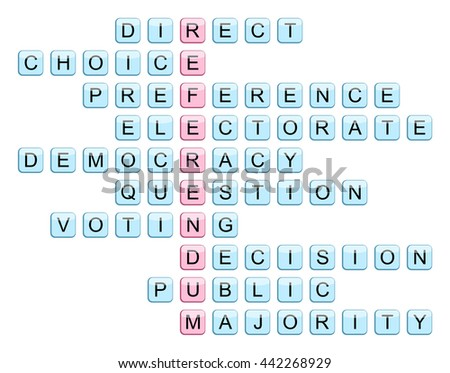 Crossword for the word Referendum and related words (Direct, Choice, Preference, Electorate, Democracy, Question, Voting, Decision, Public, Majority), vector illustration - stock vector