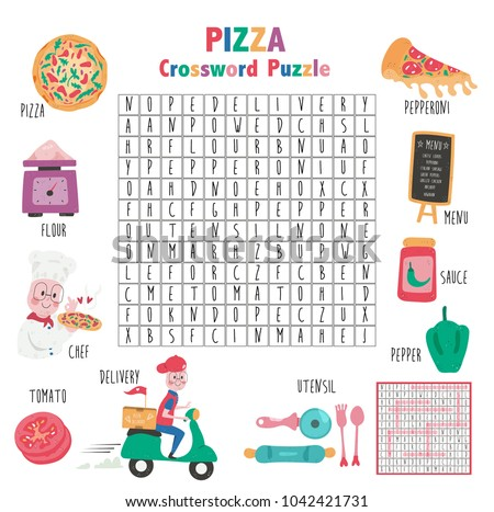 Crossword Game About Pizza For Kids Word Search Puzzle With Vocabulary And The Answer