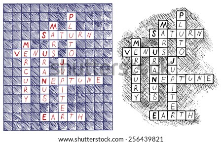 Crosswords on the subject of astronomy - stock vector