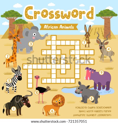 Crosswords Puzzle Game Of African Animals For Preschool Kids Activity Worksheet Colorful Printable Version Vector
