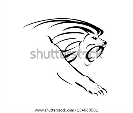 Crouching Lion King, roaring and crawling - stock vector
