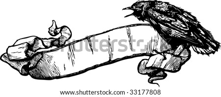 Crow Banner Vector Illustration