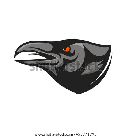 Crow head mascot. Raven head illustration. Design element for logo, label, emblem, sign, badge. - stock vector