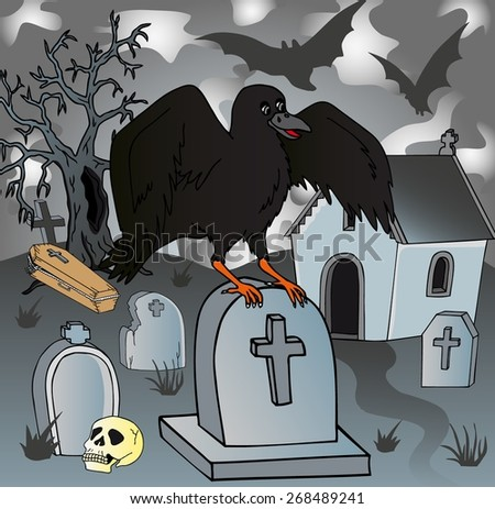 Crow in the cemetery - vector illustration. - stock vector