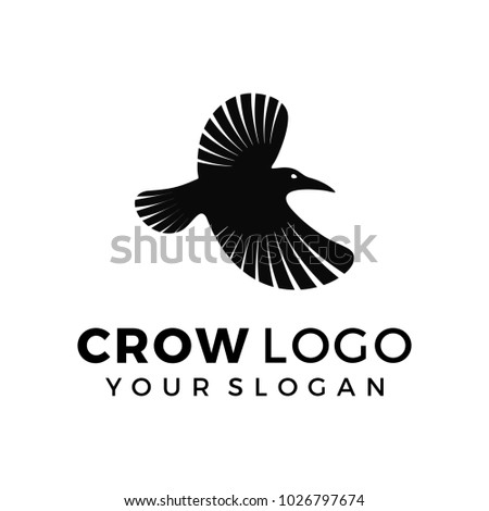Crow Logo Template Silhouette Black Raven Stock Vector (2018 ...