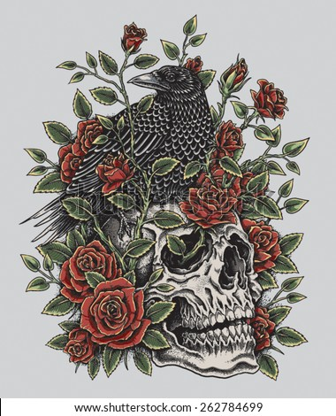 Crow, Roses and Skull Tattoo Design - stock vector