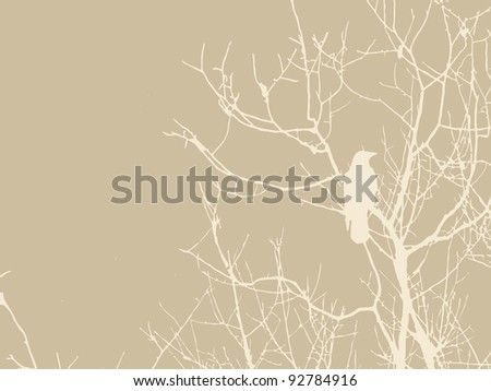 crow silhouette on brown background - stock vector