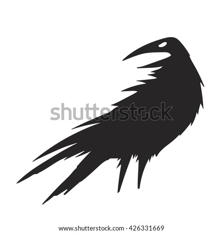 Crow silhouette vector illustration. Isolated. Black and white. Great for logo, tattoo, label, emblems and greeting card