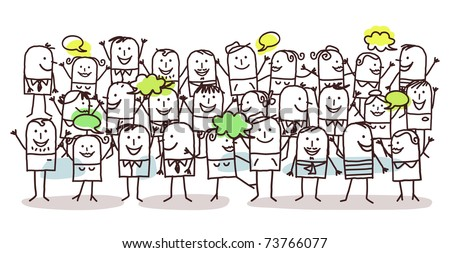 crowd and happiness - stock vector