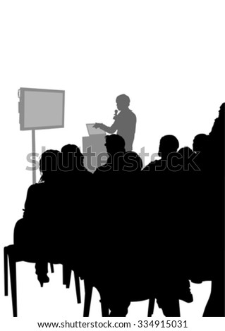 Crowd and speaker at presentation in office on a white background