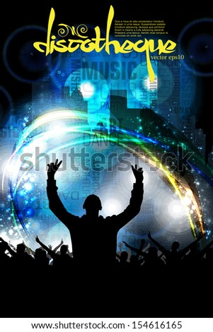 Crowd at the music concert. Vector - stock vector