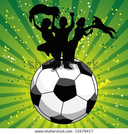 Crowd Celebrating Soccer Game on Ball. Editable Vector Illustration - stock vector