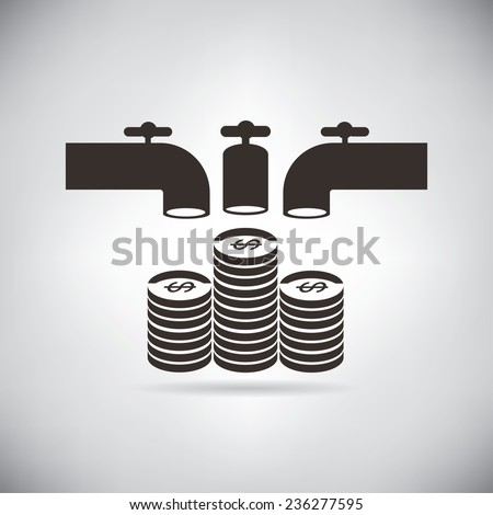 crowd funding, faucet pouring money - stock vector