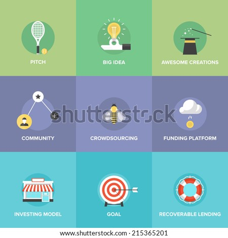 Crowd funding service, investing platform for innovation project, creative development of small business, startup model and community ideas. Flat design icons set modern vector illustration concept. - stock vector