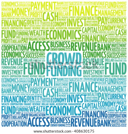 CROWD FUNDING word cloud, business concept - stock vector