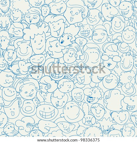 crowd funny character doodle - stock vector