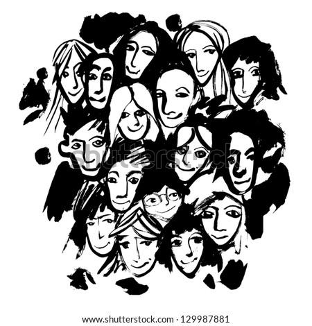 Crowd (hand-drawn by dry brush). Vector. - stock vector