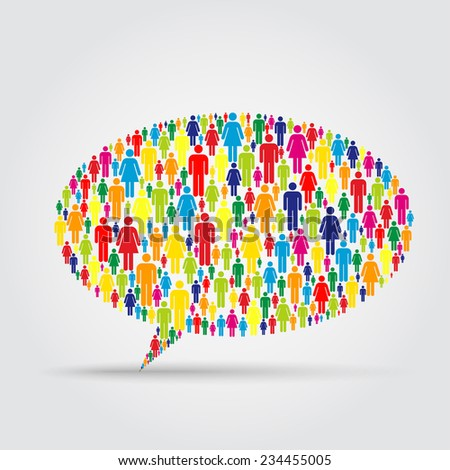 Crowd into a speech bubble isolated shape - stock vector