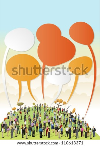 Crowd of business people talking by speech balloons on colorful park - stock vector