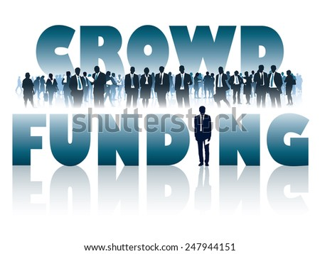 Crowd of businesspeople and large words - CROWD FUNDING. - stock vector