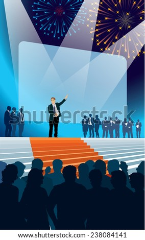 Crowd of businesspeople celebrating promotion of a new product. - stock vector