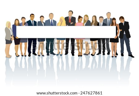 Crowd of businesspeople standing and holding big long billboard. - stock vector