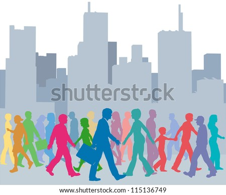 Crowd of city people go walking in front of buildings skyline - stock vector
