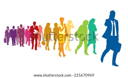 Crowd of colorful walking people over a white background.