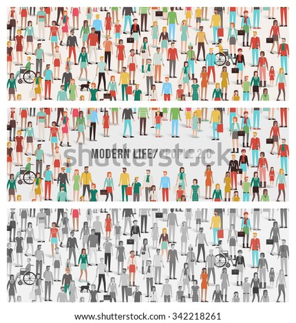 Crowd of people banners set, large number of men, women, children, different ethnic groups and clothing, social gathering and diversity concept - stock vector