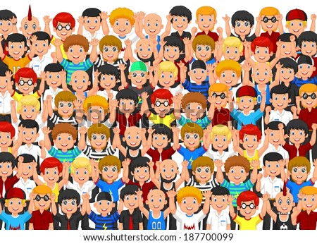 Crowd of People Cheering - stock vector