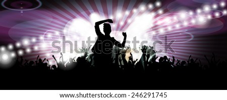 Crowd of people. Concert illustration. Vector - stock vector