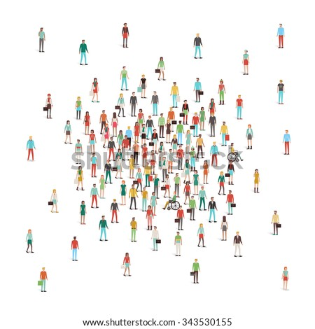 Crowd of people gathering at center, men and women, different ethnic groups and clothing - stock vector