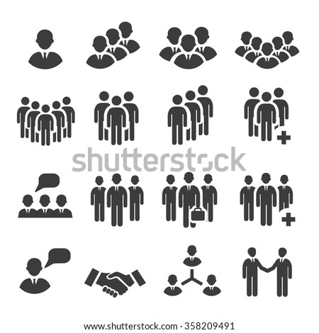 Crowd of people in team icon silhouettes - stock vector