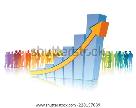 Crowd of people is standing in front of big growing chart - stock vector