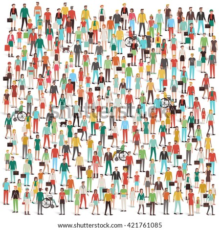 Crowd of people, men, women, children, different ethnic groups and clothing, consumers and large groups concept - stock vector