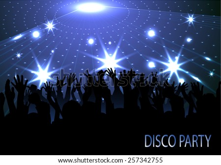 crowd of people, silhouettes in night club - stock vector