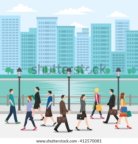 Crowd of People Walking on the Street with Cityscape Background - stock vector