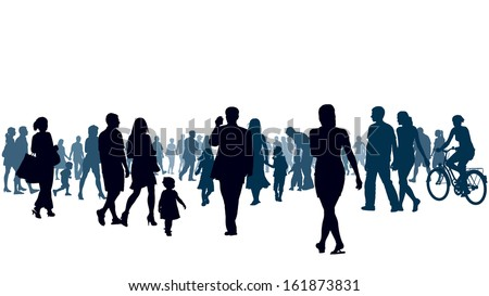 Crowd of people walking. People are going to the light. - stock vector